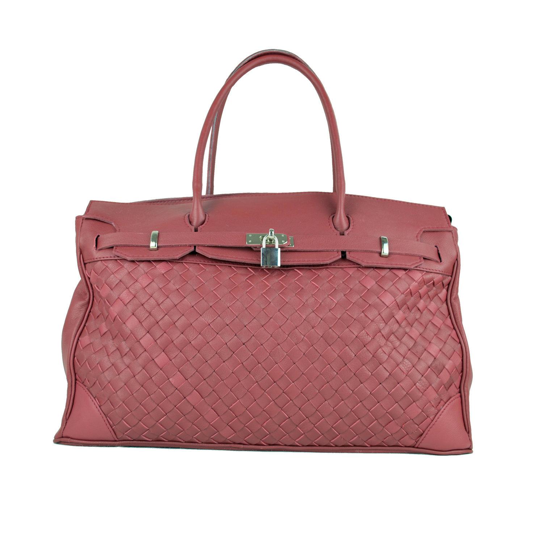 b658031168 Ručne pletená kabelka z hovädzej usne v talianskom štýle v bordovej farbe  (5)