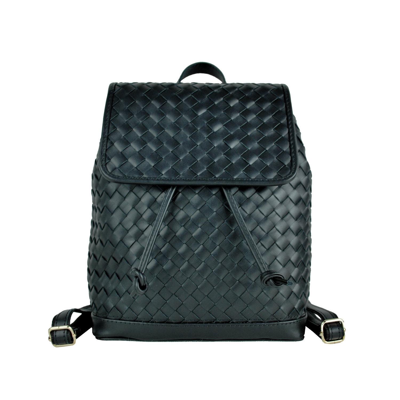 be603b02d0 Ručne pletený kožený ruksak z pravej hovädzej kože č.8739 v čiernej farbe (3