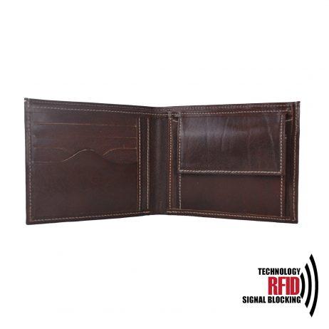 Ochranná kožená peňaženka v tmavo hnedej farbe č.8406.