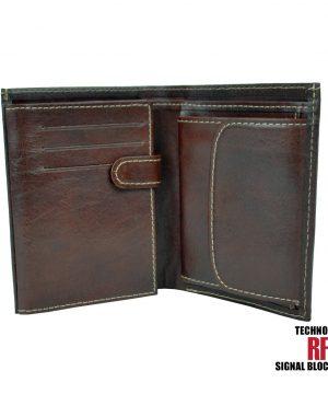 Kožená RFID peňaženka vybavená blokáciou RFID / NFC, tmavo hnedá farba č.8560