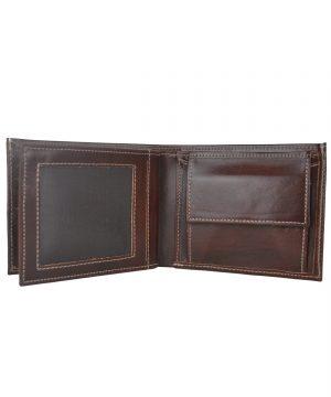 Kožená peňaženka z pravej kože č.8407 v tmavo hnedej farbe