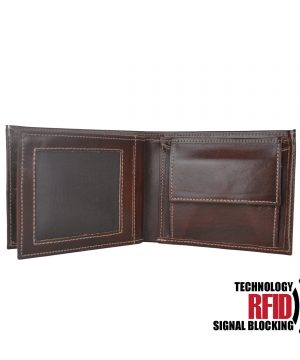 Ochranná kožená peňaženka v hnedej farbe č.8407.