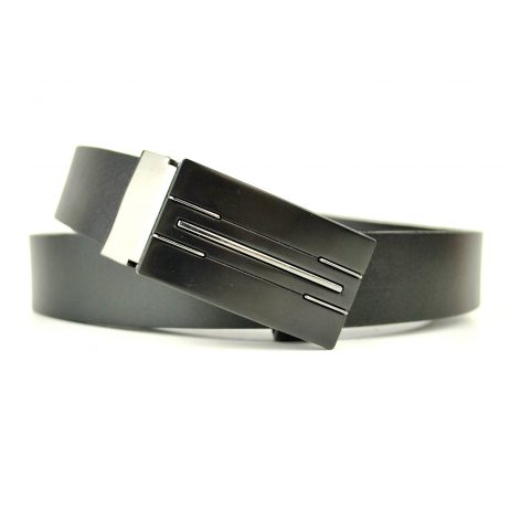 Kožený manažérsky opasok Blackstar v čiernej farbe, 2.5 cm-