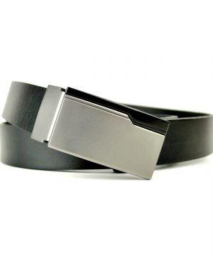 Kožený manažérsky opasok Future v čiernej farbe, 2.5 cm.