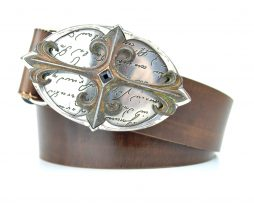 Ručne farebný kožený opasok Arthur, 4cm, Mahagon