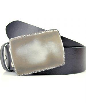 Ručne vyrobený kožený opasok Rock, 4cm, čierna farba
