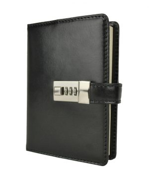 Veľký zápisník z prírodnej kože na heslový zámok, čierna farba