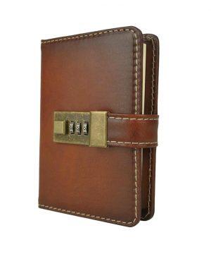 Malý ručne tieňovaný zápisník z prírodnej kože na heslový zámok, cigarová farba