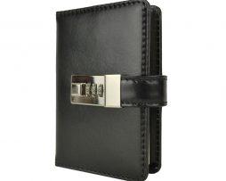 Malý zápisník z prírodnej kože na heslový zámok, čierna farba