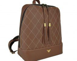 Štýlový dámsky kožený ruksak z prírodnej kože v tmavo hnedej farbe
