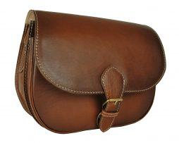 Unikátna kožená kabelka 7403, ručne tieňovaná, hnedá svetlá,