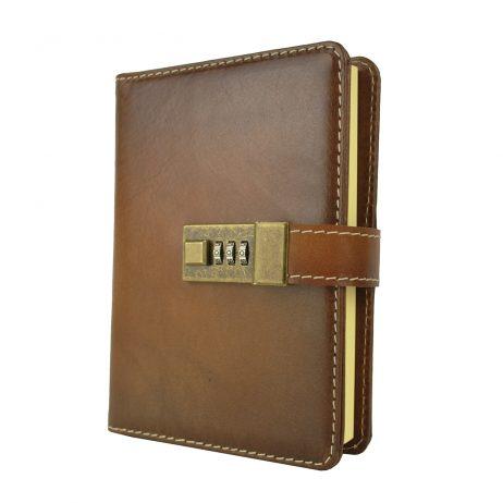 Veľký ručne tieňovaný zápisník z prírodnej kože na heslový zámok, hnedá farba