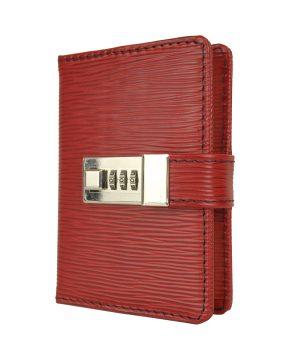 Malý ručne tieňovaný zápisník z luxusnej viton kože na heslový zámok, bordová farba - kópia
