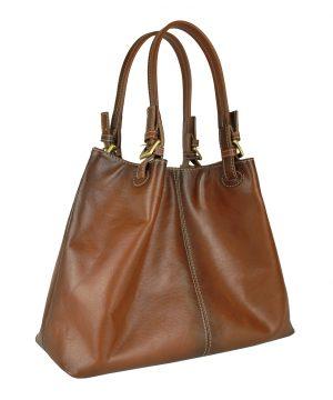 Dámska kožená kabelka SHOPPER, ručne farbená a tieňovaná, svetlo hnedá
