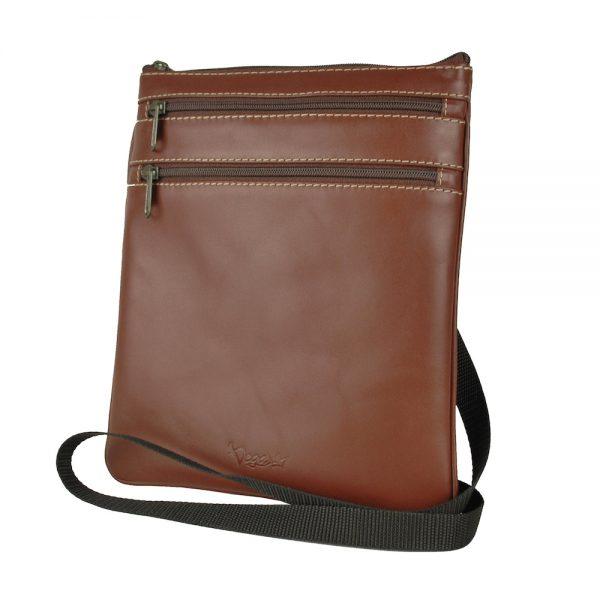 Elegantná kožená taška č.8639, viacúčelové púzdro v hnedej farbe
