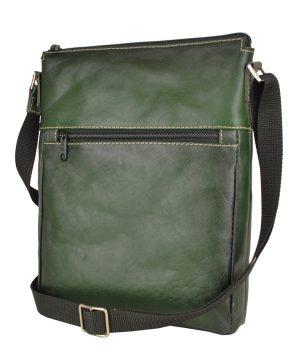 Kožená taška crossbody č.8681, ručne tieňovaná, tmavo zelená farba
