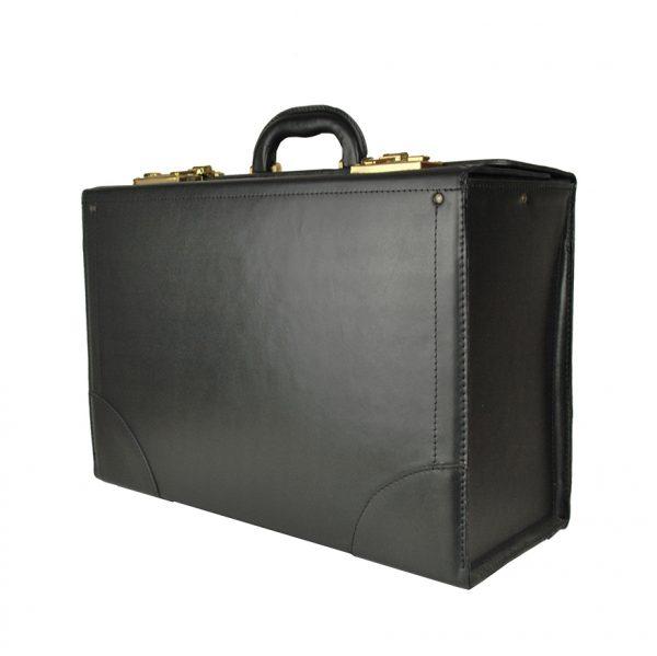 Celokožený kufor cestovný č.8173 bez mechaniky v čiernej farbe