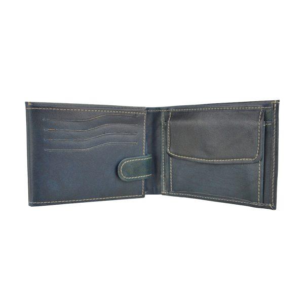 Kožená peňaženka č.8552 ručne tieňovaná v modrej farbe