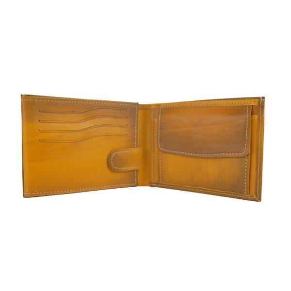 Kožená peňaženka č.8552 ručne tieňovaná v žltej farbe