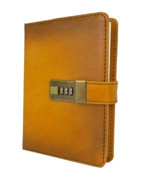 Veľký ručne tieňovaný zápisník z prírodnej kože na heslový zámok, žltá farba