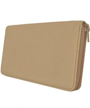 Dámska veľká kožená peňaženka č.8606 vo svetlo hnedej farbe