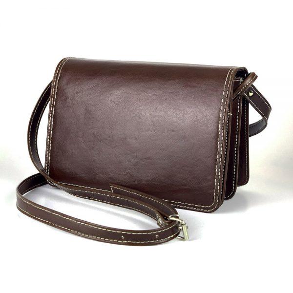 Crossbody kožená kabelka, tmavo hnedá, uzatváranie - magnet.