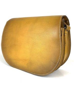 Žltá kožená kabelka, ručne tieňovaná, uzatváranie - skrytý magnet