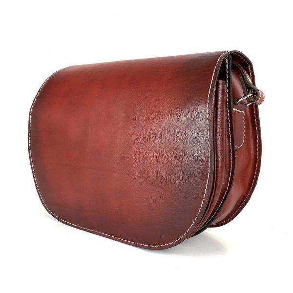 Bordová kožená kabelka, ručne tieňovaná, uzatváranie - skrytý magnet
