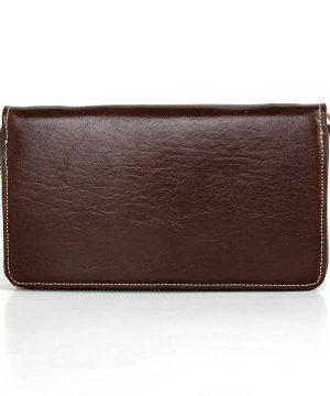 Dámska nákupná kožená peňaženka č.8606 v tmavo hnedej farbe