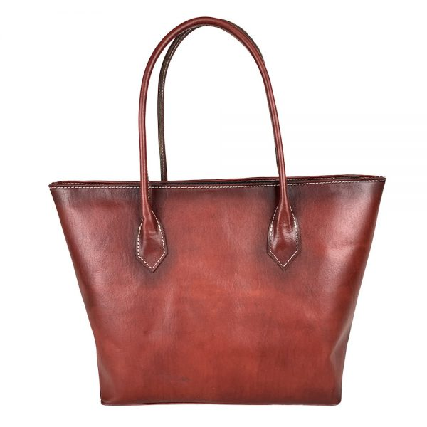 Kožená dámska kabelka SHOPPER ručne tamponovaná a tieňovaná v bordovej farbe