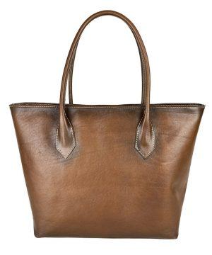 Kožená dámska kabelka SHOPPER ručne tamponovaná a tieňovaná v hnedej farbe.