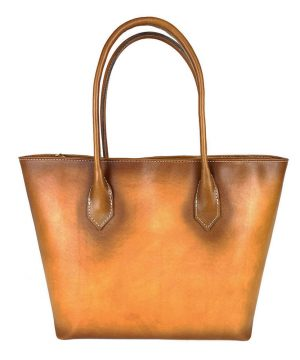 Kožená dámska kabelka SHOPPER ručne tamponovaná a tieňovaná v tmavo žltej farbe