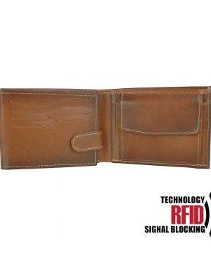 Kožená RFID peňaženka vybavená blokáciou RFID / NFC, svetlo hnedá farba č.8552