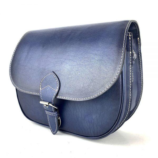 Tmavo modrá kožená kabelka, ručne tieňovaná, uzatváranie – zámok