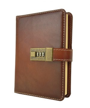 Veľký ručne tieňovaný zápisník z prírodnej kože na heslový zámok, Cigaro farba