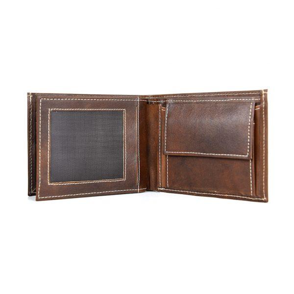 Kožená peňaženka z pravej kože č.8407 v tmavo hnedej farbe, ručne tamponovaná