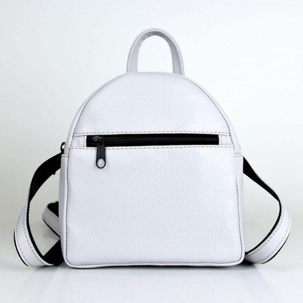 Mini kožený ruksak z pravej kože č.8748 v perlovej farbe..