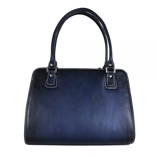 Exkluzívna kožená kabelka 8614 ručne tamponovaná a tieňovaná v tmavo modrej farbe