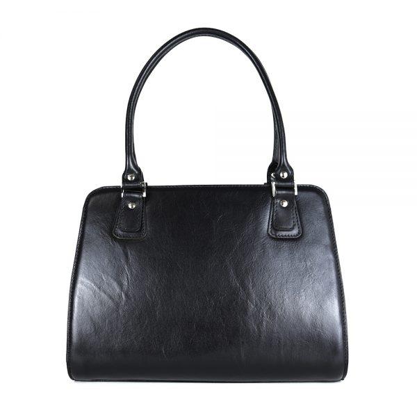 Exkluzívna kožená kabelka 8614 v čiernej farbe.,