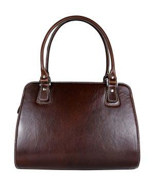 Exkluzívna kožená kabelka 8614 v tmavo hnedej farbe-