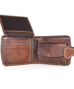 Elegantná kožená peňaženka č.8467 v hnedej farbe, ručne tamponovaná