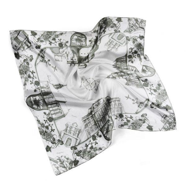 Hodvábna šatka SLOVENSKO BLACK & WHITE, 90 x 90cm, SLOVAKIA