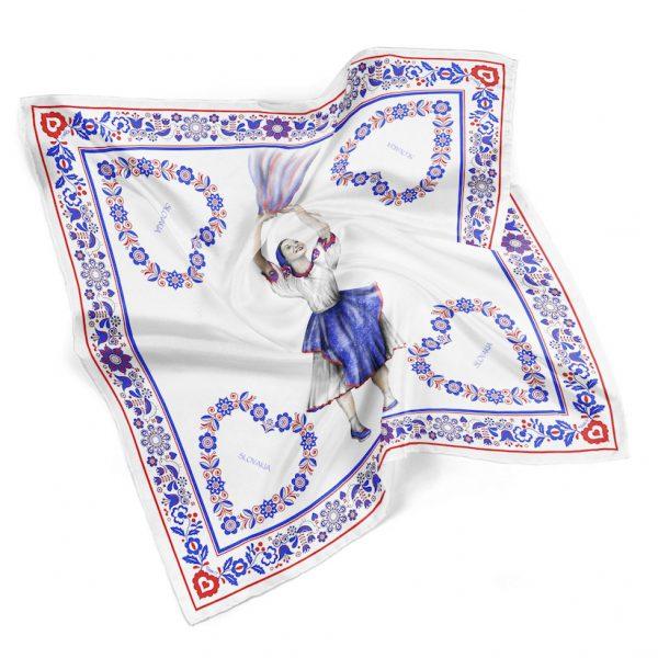 Hodvábna šatka TANEČNICA, 90 x 90cm, Made in SLOVAKIA